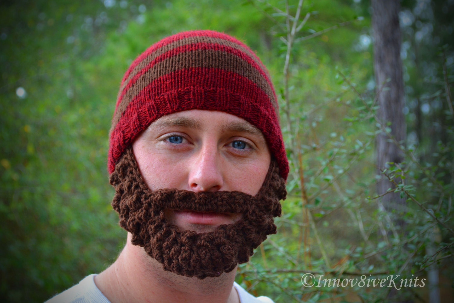Bearded Beanie Knitting Pattern : Bearded Beanie Hat Hand Knit and Crochet in Red and Brown with