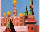 "Moscow Kremlin - Vintage Matted/Mounted Book Illustration 5"" x 7"" - Ready to Frame"