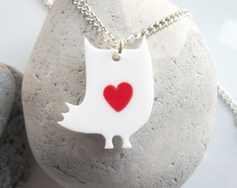 Daisy the Owl laser cut acrylic necklace with an extra coloured heart