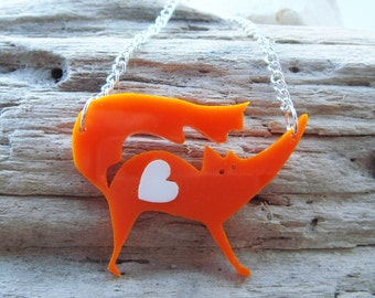 Elsie the orange Fox laser cut acrylic necklace with a removable heart