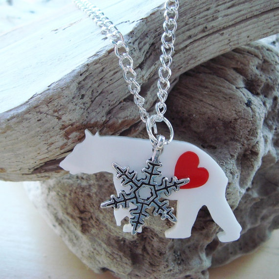 Ivy the Polar Bear Necklace with a snowflake charm