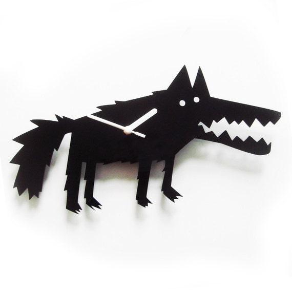 Big Bad Wolf black acrylic wall clock   (last ones)