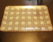 Vintage - Glas Tray with white graphic motive and gold edge from the 1960ies