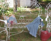 SETTEE and Two CHAIRS Vintage Victorian Style Wrought IRON Patio Shabby Chic Rustic