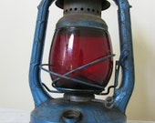 BLUE DIETZ LANTERN with Ruby Red Glass / Rustic Industrial Cottage Vintage