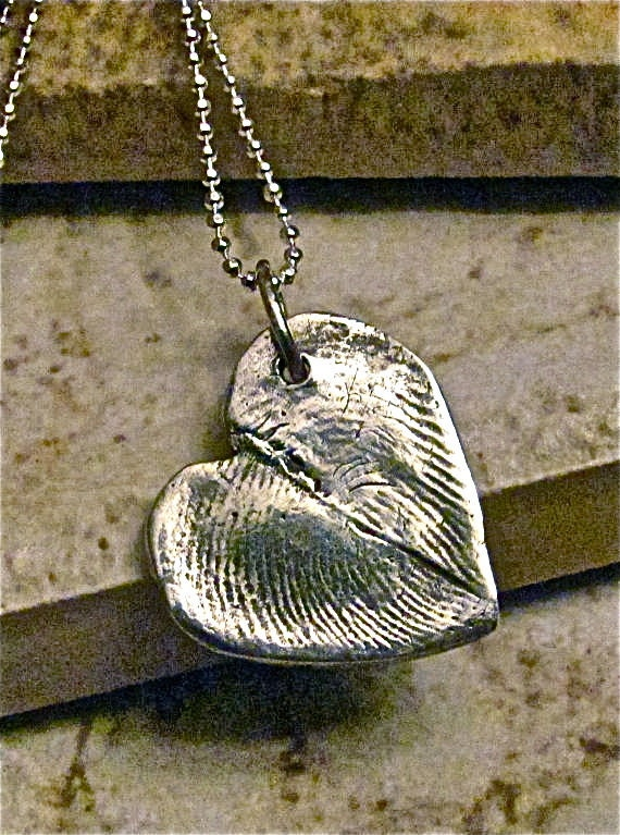 Fingerprint necklace, Two Fingerprints form a Heart, fingerprint jewelry, fingerprint heart necklace, couples jewelry, couples necklace