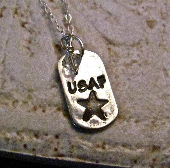 Military Charm - USAF - Navy - USMC - Army - Fine Silver and Swarovski Crystal with 16 inch Sterling Silver Chain