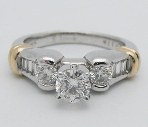 1.00 ct Three-Stone Round Diamond Engagement Ring 14K White Yellow Gold Size 7