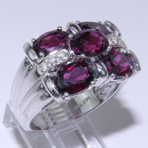14K White Gold Diamond & Rhodolite Garnet Wide Band Ring