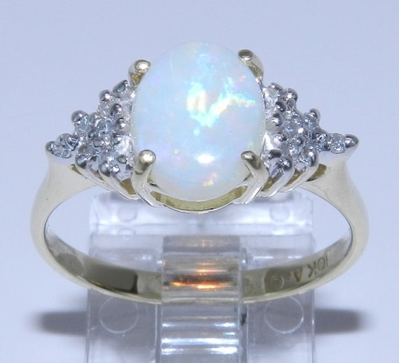 Estate Vintage Yellow Gold Diamond and Oval 9 X 7 mm Opal Ring