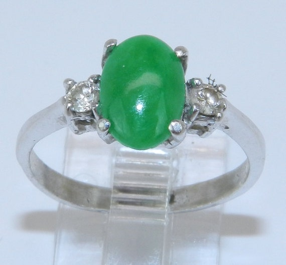 RESERVED for Katie Shirey Estate Vintage 18K White Gold 3-Stone Diamond & Jade Cabochon Engagement Ring