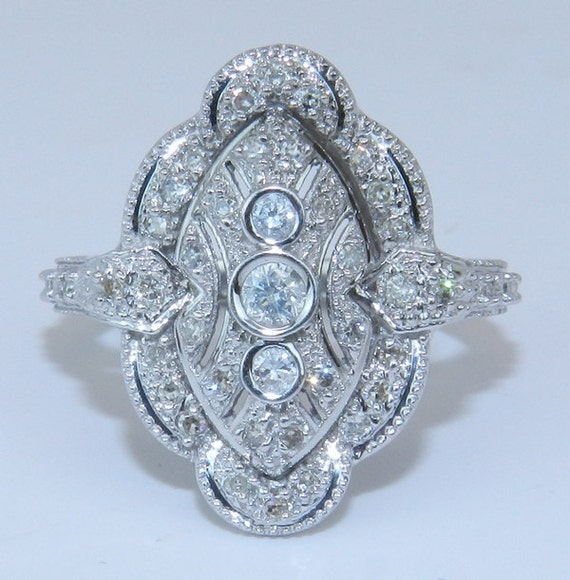 RESERVED for Antonio  14K White Gold 1/2 ct Diamond Vintage Style Right Hand Ring