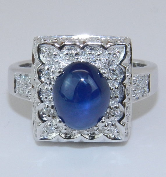 RESERVED for Rebecca Estate Vintage 18K White Gold Diamond and Sapphire Cabochon Right Hand Ring