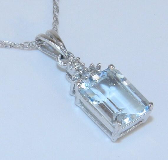 "14K White Gold Diamond & Emerald Cut Aquamarine Pendant 18"" Chain Necklace"