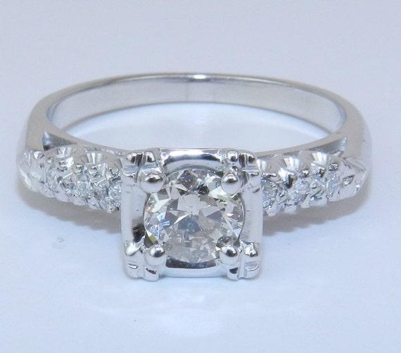 Antique Vintage 14K White Gold Natural Genuine Diamond Engagement Ring