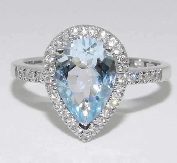 14k White Gold Diamond Amp Pear Aquamarine Halo Engagement Style