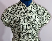Shirt, women's bolero style, skeleton key print, size small