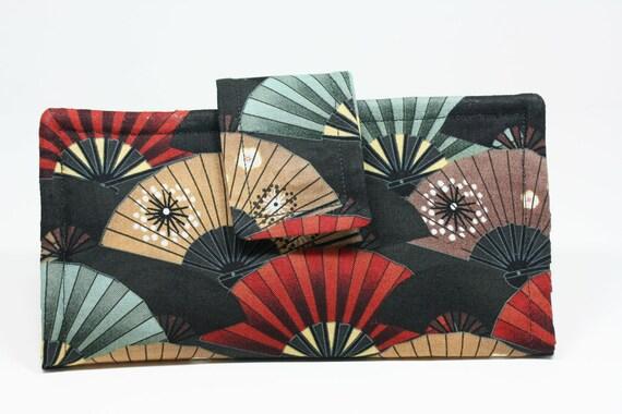 Wallet, Cloth Japanese Fan Print