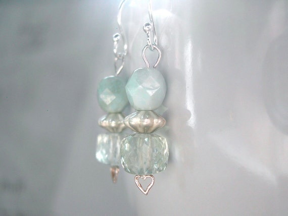 Earrings -- prasiolite cubes, pale green czech glass rounds, sterling silver, hearts
