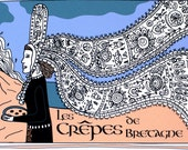 French Country Kitchen Art Print Illustrated Recipe 'Crêpes de Bretagne' 8x10 Blue