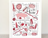 Kitchen art print 'French cold cuts' (French Food Art Meat series) 11x14 giclee art print Butcher Ham Pig Jambon saucisson
