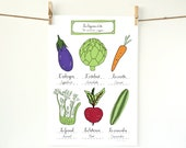 Summer Vegetables 2 Kitchen Art Poster French Rustic kitchen Food series 13x19 Eggplant Cute vegetables