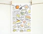French Cheeses Kitchen Art Poster for the Kitchen (Food meat series) 13x19 fromages français for a cheese lover Brie Mimolette Yellow Orange