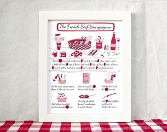 French Food Poster - Kitchen Art Recipe illustration ''French Beef Bourguignon' 8x10 Red Dad men