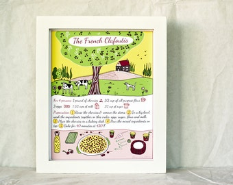 French Countryside Kitchen Art - French Cake Recipe Print 'Clafoutis'  8x10 Yellow Green