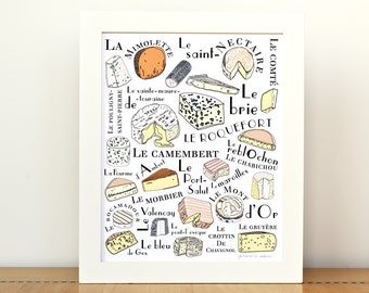 Kitchen Art French Cheeses home decor - Art Print 8x10  Gourmet cheese lover food illustration