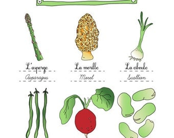 "Food Art illustration print ""Spring vegetables"" art for Kitchen 11x14 (vegetables art series) kitchen wall art Asparagus Green Beans vegan"