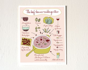 Food Art Print French recipe illustration 8x10 'Beef beans cabbage stew' Pink