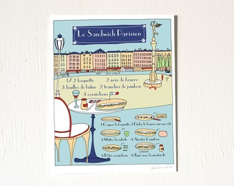French Modern Kitchen Art Print 'Le sandwhich parisien' (Recipe illustration in French) 8x10 Blue