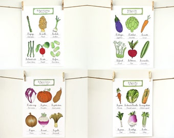 Kitchen Art Posters Vegetable Art - 4 seasons Kitchen Art illustration art prints Set of 4 - 13x19 Foodie Gift Mother's Day
