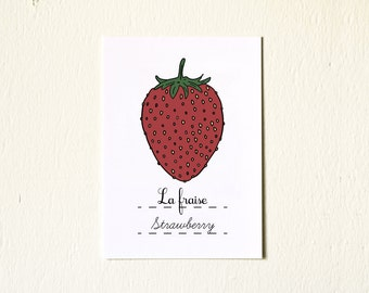 French Nursery Art Red Strawberry 5x7 Print  Baby girl - Spring Fruits Series Botanical Chart Nature Food Home decor