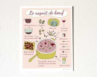 French Food Poster 'Le ragout de boeuf' (Illustrated Recipes series in French) 8 x 10 print