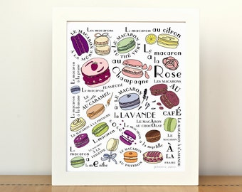 French Parisian Macaroons -  Kitchen Art Print 8x10 Macarons parisiens cake cookie desserts print