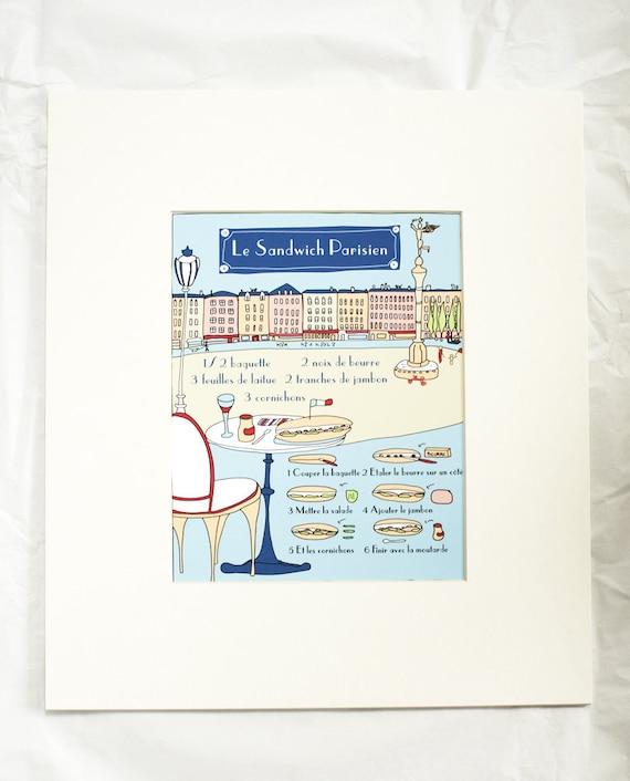 French Kitchen Art Prints: French Modern Kitchen Art Print 'Le Sandwhich