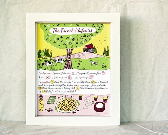 French Countryside Kitchen Art - French Cake Recipe Print 'Clafoutis'  8x10 Yellow Green