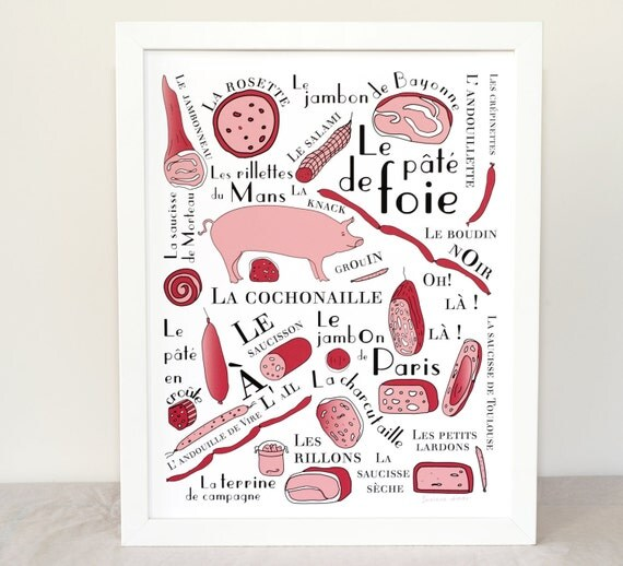 Kitchen art print 'French cold cuts' (French Food Art Meat series) 11x14 giclee art print Butcher Ham Pig Jambon saucisson