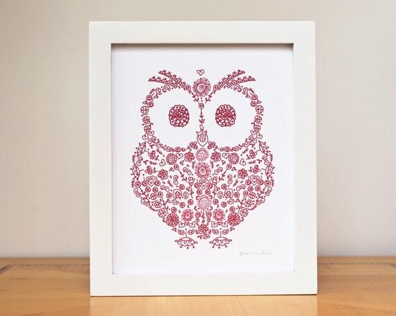 "Owl Baby Nursery Art Print  8""x10"" Custom Color- Woodland Animal Art silhouette RED"