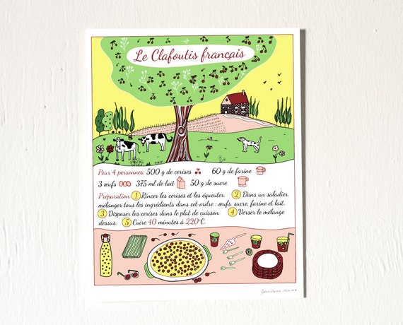 French Cooking Art Print - French cake recipe in French 'Clafoutis français' 8x10 Yellow Green French Countryside