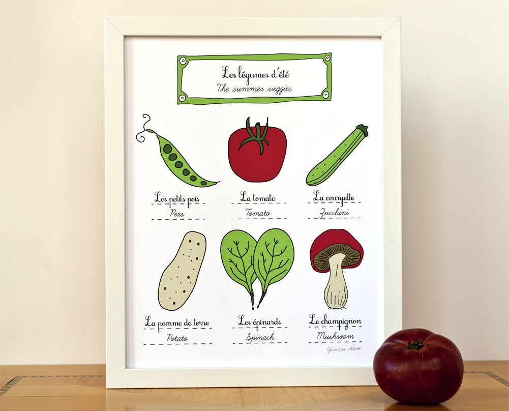 Summer vegetables kitchen decor art print fruits and - Fruit kitchen decorating theme ...
