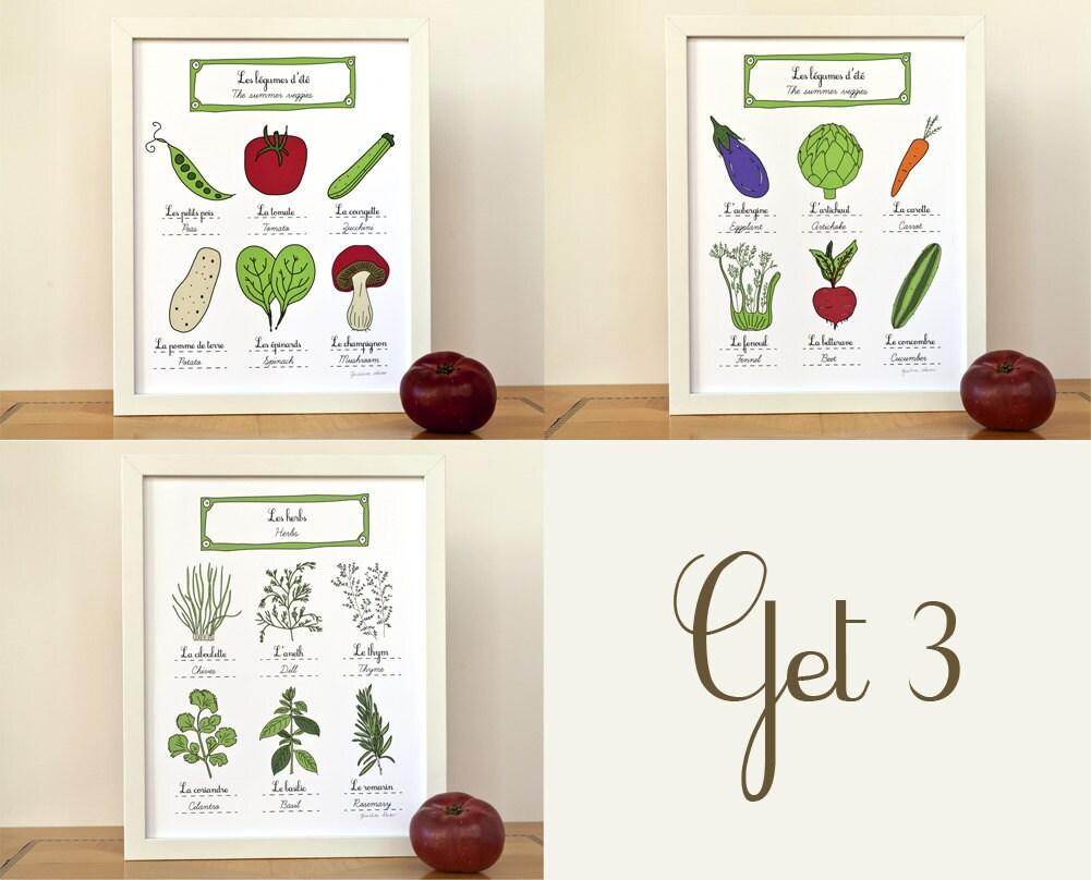 Herbs Summer Veggies French Kitchen Wall Art Set Of 3 Food