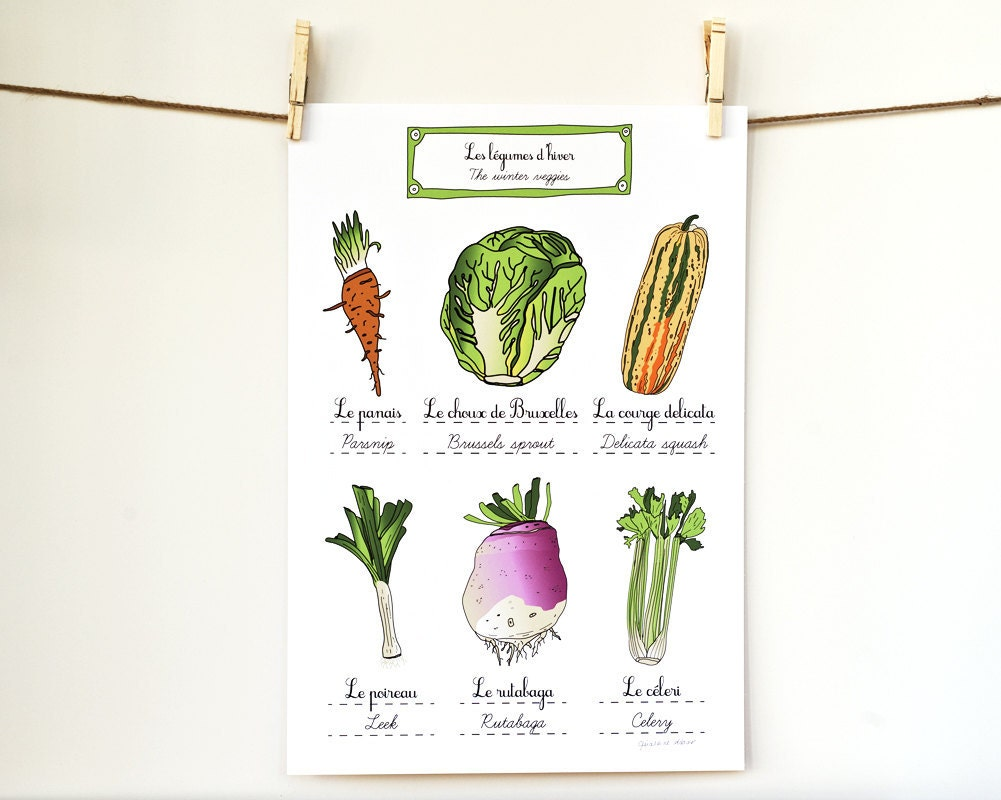 Food art print kitchen poster 39 winter vegetables 39 for French kitchen artwork