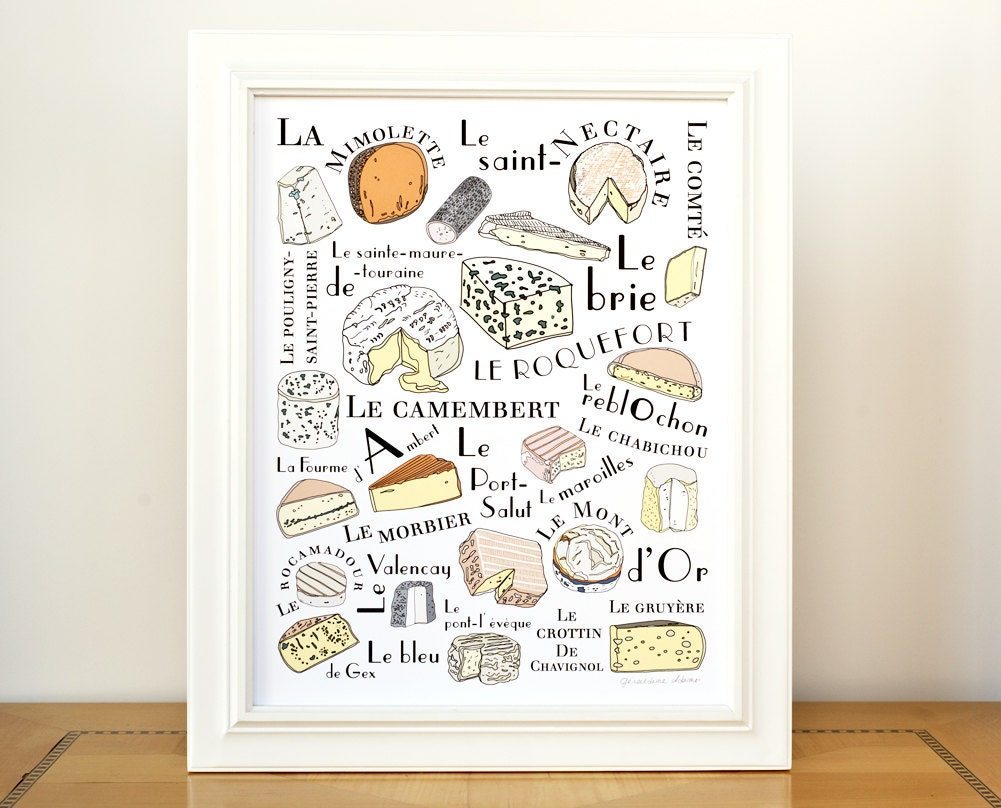 Kitchen wall art print 39 french cheeses 39 art for for French kitchen artwork