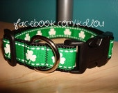 "3/4"" or 1"" Adj St. Patrick's Day Shamrock Dog Collar - Customize Your Own"
