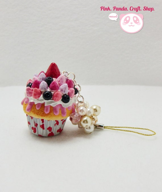 Delicious mixed berries polymer clay cupcake phone charm