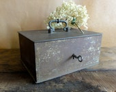 Antique Iron Safe Box, Travel Safe with Lock and Key Strong Box