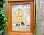Vintage Music Sheet Poster Yes Sir Thats My Baby in a Wooden Frame